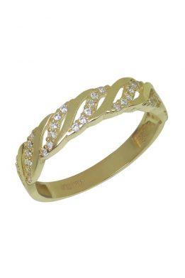 Χρυσό Δαχτυλίδι Με Μοντέρνο Σχέδιο Και Πέτρες Ζιργκόν O-D6152