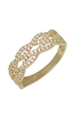 Χρυσό Δαχτυλίδι Με Μοντέρνο Σχέδιο Και Πέτρες Ζιργκόν O-D6153