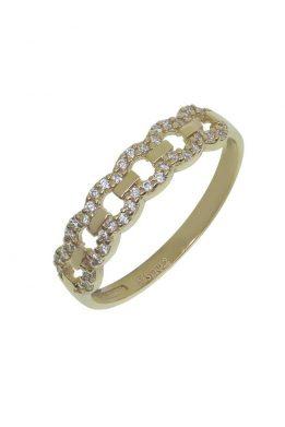 Χρυσό Δαχτυλίδι Με Μοντέρνο Σχέδιο Και Πέτρες Ζιργκόν O-D6155